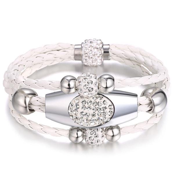 White Leather Three-row Wrap Bracelet