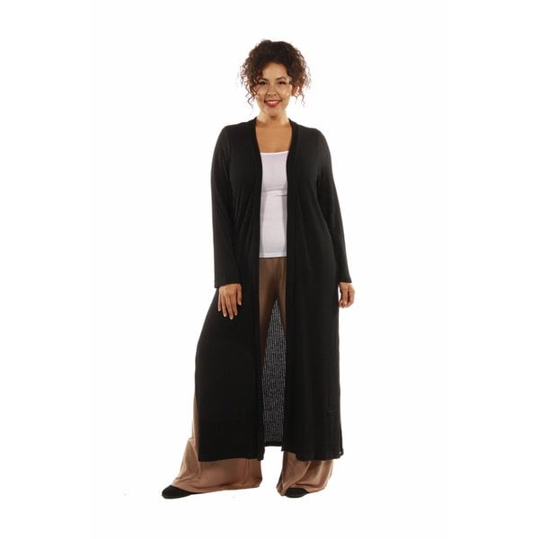 The Perfect 10 Soft Rib, Plus Sized Black Cardigan Shrug