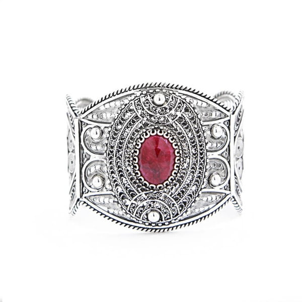 Sterling Silver Lace Design Ruby Cuff Bracelet