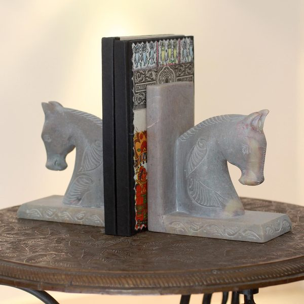 Set of 2 Soapstone 'Pretty Ponies' Bookends (India)