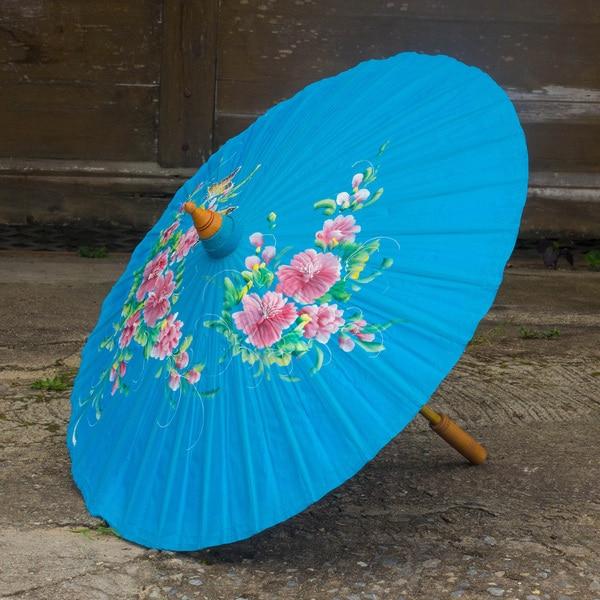 Handcrafted Saa Paper 'Azure Garden' Decorative Parasol (Thailand)