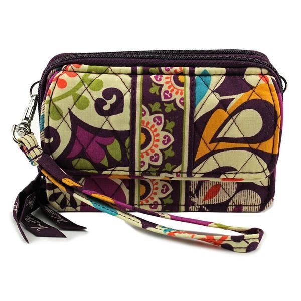Vera Bradley Women's Plum Crazy Purple Fabric Wristlet Handbag