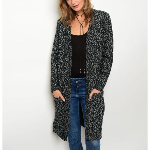 JED Women's Thick Knit Marled Acrylic Sweater Cardigan
