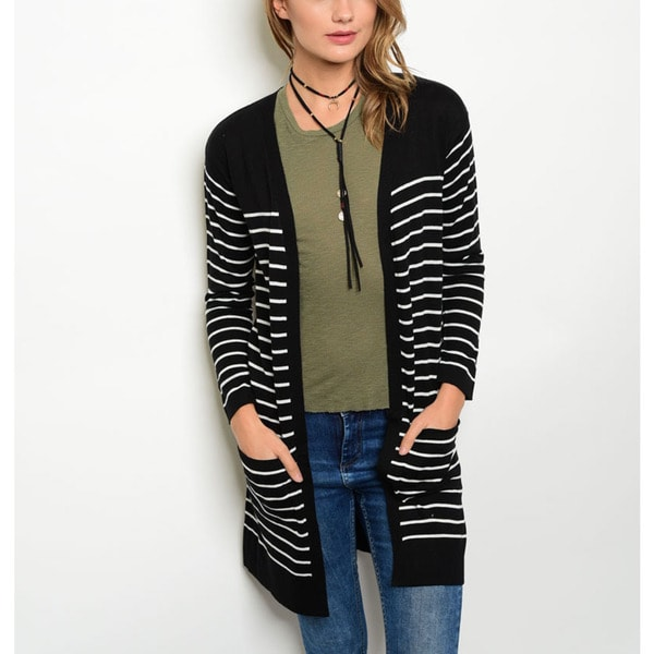 JED Women's Black/White Striped Cotton Blend Cardigan