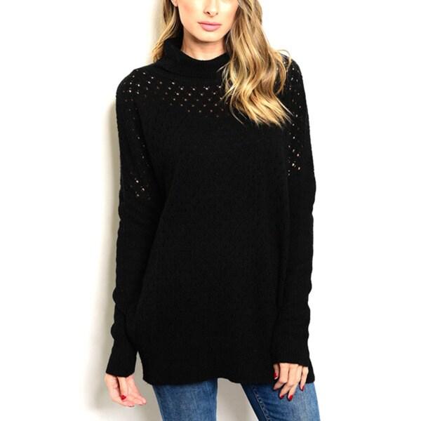JED Women's Black Wool-blend Knit Long-sleeve Turtleneck Sweater