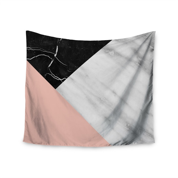 Kess InHouse Cafelab 'Marble Collage With Pale Pink' Grey/Pink/Black Polyester Wall Tapestry