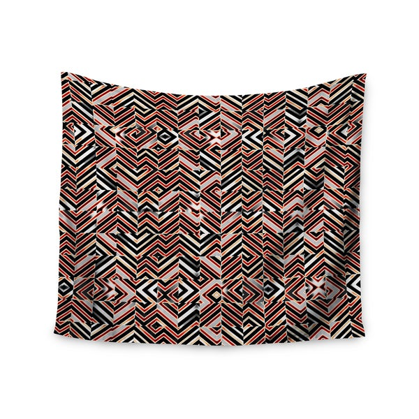 Kess InHouse Dawis Roc 'Maze Geometric Abstract 1' Orange and Black Wall Tapestry