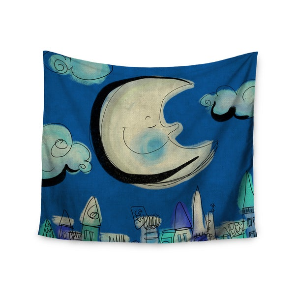Kess InHouse Carina Povarchik 'Moon' Blue and White Polyester Wall Tapestry