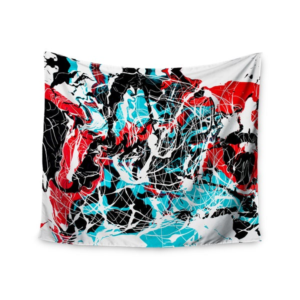 Kess InHouse Bruce Stanfield 'Embryo' Teal and Red Polyester Wall Tapestry