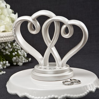 Fashioncraft Off-white Porcelain Interlocking Hearts Centerpiece / Cake Topper