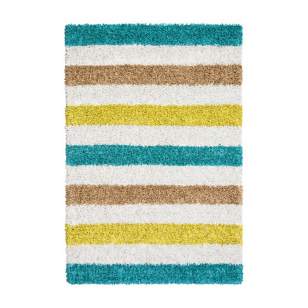 Jani Silky Shag Teal Blue Cotton Striped Ivory Rug (4' x 6')