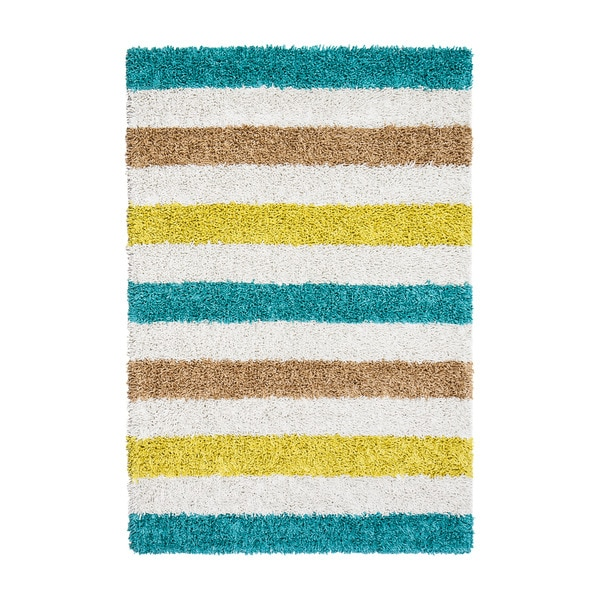 Jani Teal/Blue/Ivory Cotton/Vicose Striped Silky Shag Rug (8' x 10')