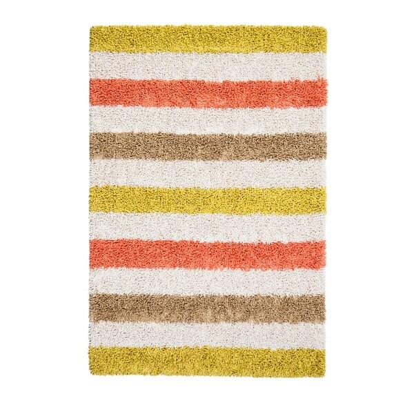 Jani Mustard Yellow/Ivory Cotton/Viscose Striped Rug (8' x 10')