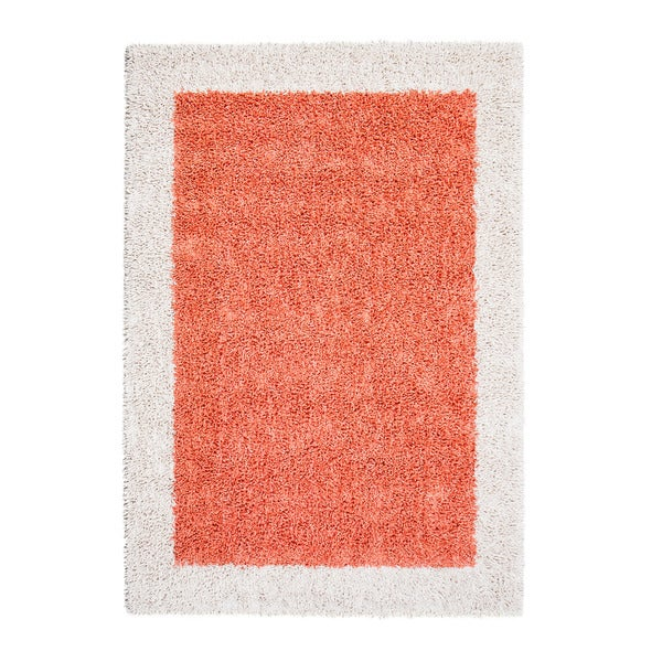 Jani Silky Shag Papaya Orange and Ivory Cotton Border Rug (5' x 7')