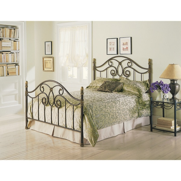 Dynasty Complete Bed with Arched Metal Panels and Scalloped Finial Posts