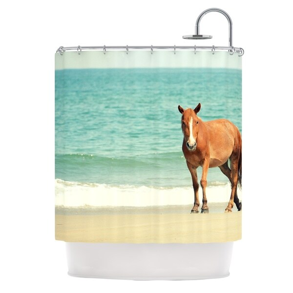 Kess InHouse Robin Dickinson Wild Mustang of Carova Horse Ocean Shower Curtain 21677415