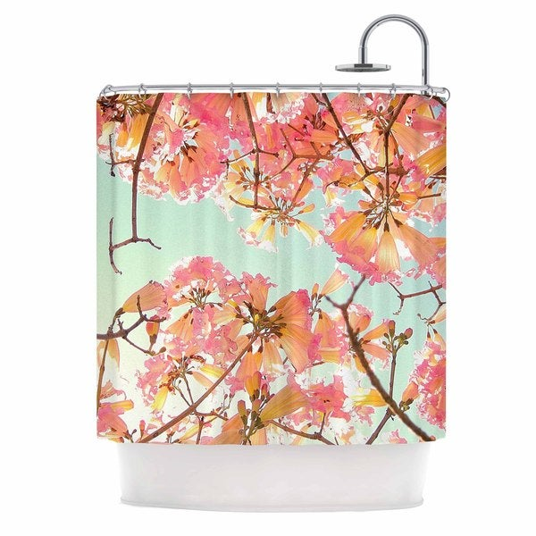 Kess InHouse Richard Casillas Spring Splendor Pink Blue Shower Curtain