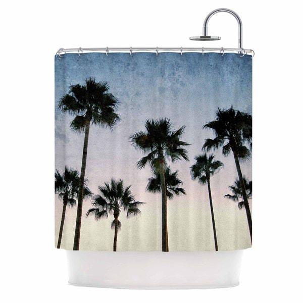 Kess InHouse Richard Casillas Paradise Palms Blue Pink Shower Curtain