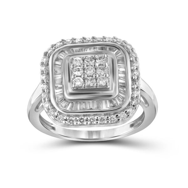 Jewelonfire Sterling Silver, Yellow Gold Over Sterling Silver 1.00ct TDW White Diamond Square Cushion Ring (I-J, I2-I3)
