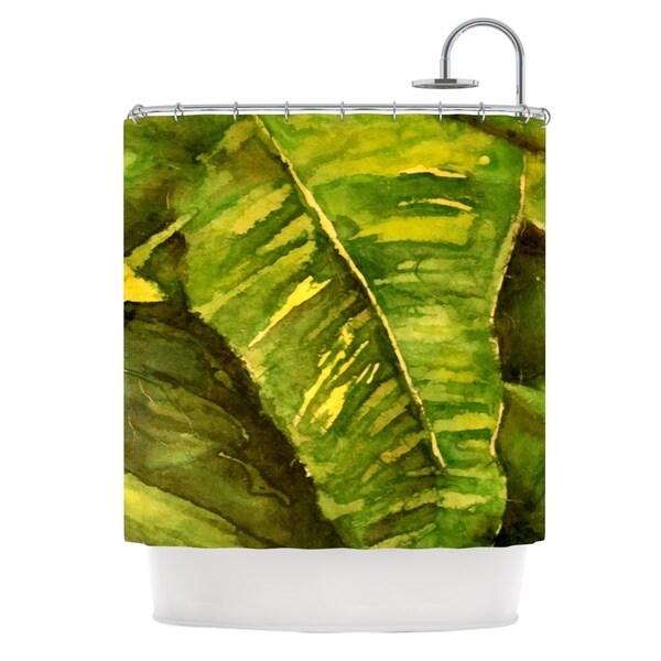 Kess InHouse Rosie Brown Tropical Garden Leaf Green Shower Curtain