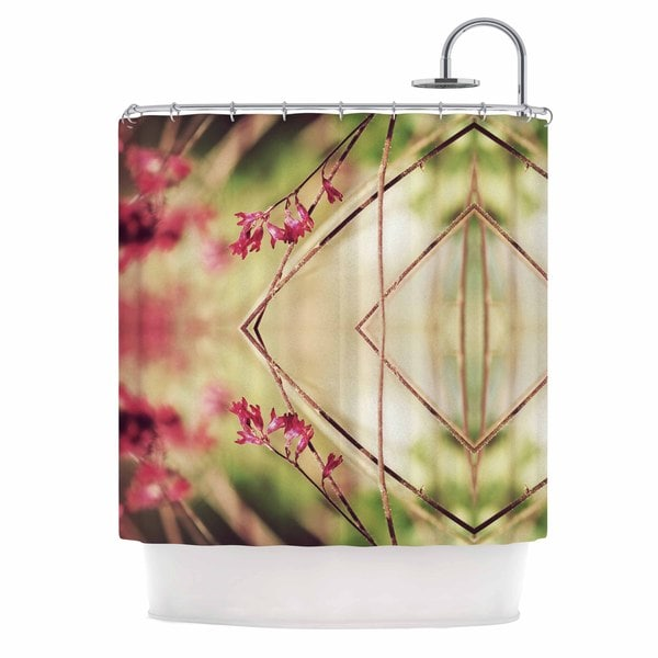 Kess InHouse Pia Schneider Pink Spangles No.10 Green Abstract Shower Curtain