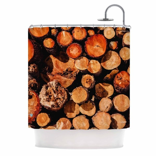 Kess InHouse Juan Paolo The Lumber Yard Brown Orange Shower Curtain