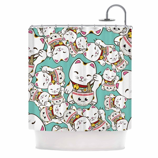Kess InHouse Juan Paolo Ramen Cats Teal White Shower Curtain