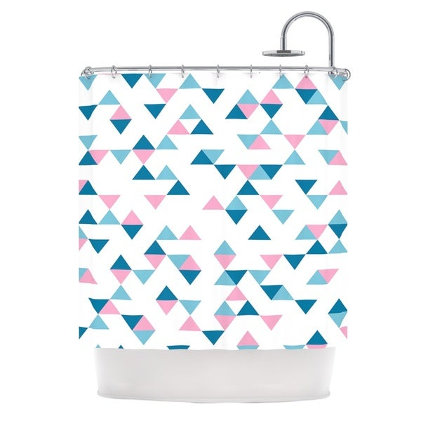 Kess InHouse Project M Triangles Pink Blush Blue Shower Curtain
