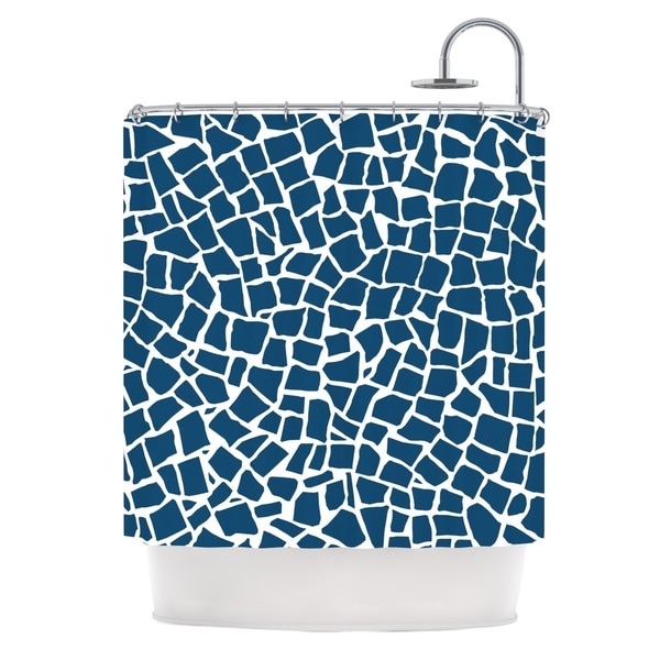 Kess InHouse Project M British Mosaic Navy Shower Curtain