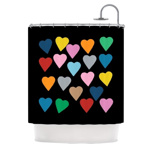 Kess InHouse Project M Hearts Colour On Black Shower Curtain
