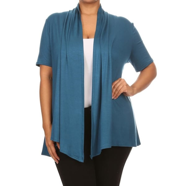 Women's Rayon Blend Plus Size Solid Cardigan 21687248