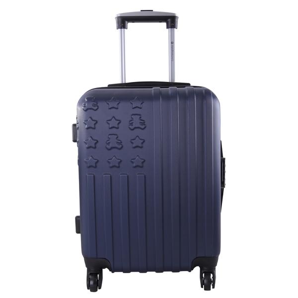 Lulu Castagnette Embossed Navy 28-inch Expandable Hardside Spinner Suitcase