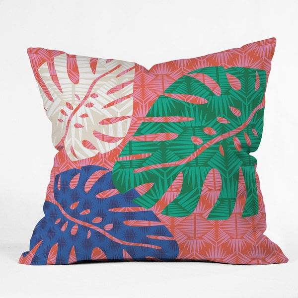 DENY Designs Zoe Wodarz Tropical Heatwave Green Polyester Throw Pillow 21692570