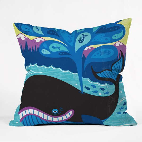 Lucie Rice Whale of a Tale Polyester Throw Pillow