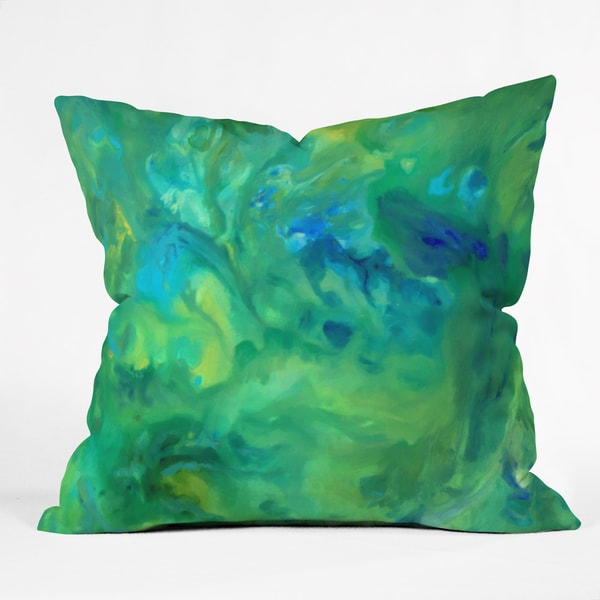 Rosie Brown Jungle Fever Green and Blue Polyester Throw Pillow