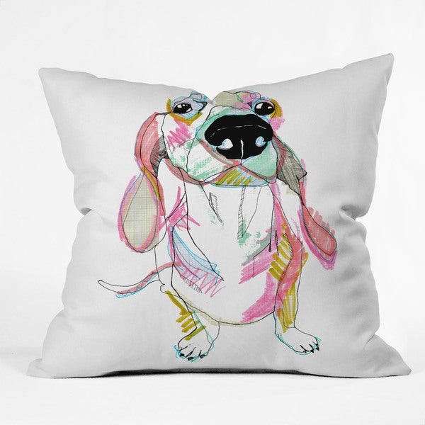 DENY Designs Casey Rogers Sausage Dog Multicolor Polyester Throw Pillow