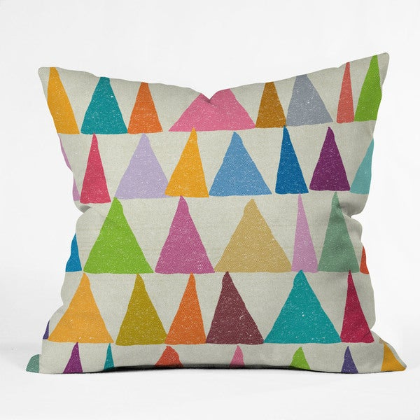 Nick Nelson Analogous Shapes in Bloom Polyester Throw Pillow