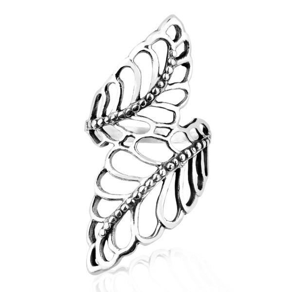 Statement Natural Leaves Wide Wrap Sterling Silver Ring (Thailand)