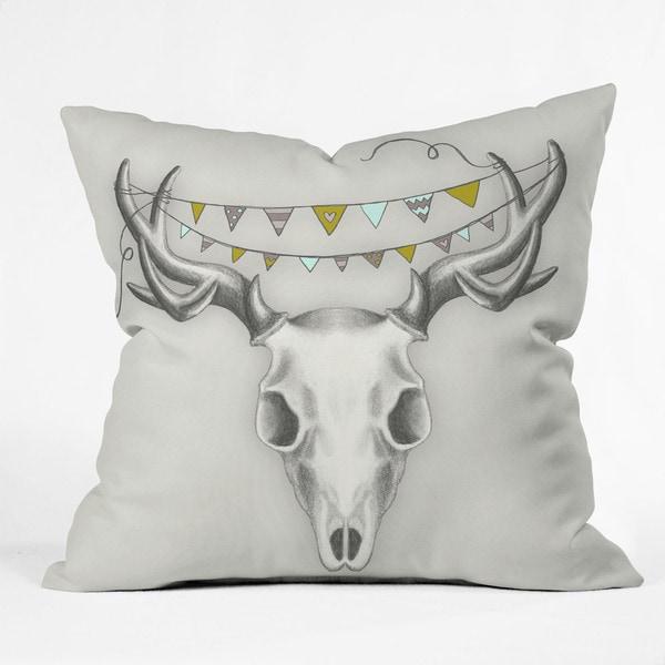 DENY Designs Wesley Bird Skull Throw Pillow