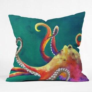 Deny Designs Clara Nilles Mardi Gras Octopus Multicolor Polyester Throw Pillow