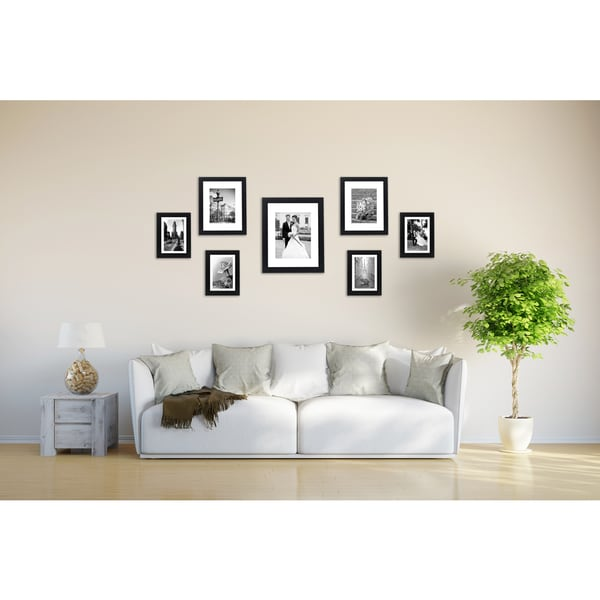 Black Wood 7-piece Multi Pack Picture Frame