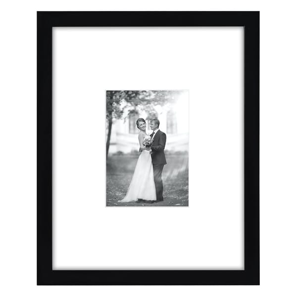 Black 11-inch x 14-inch or 5-inch x 7-inch Matted Glass-fronted Ready-to-hang Picture Frame