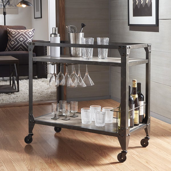 INSPIRE Q Metropolitan Charcoal Grey Industrial Metal Mobile Bar Cart with Wood Shelves