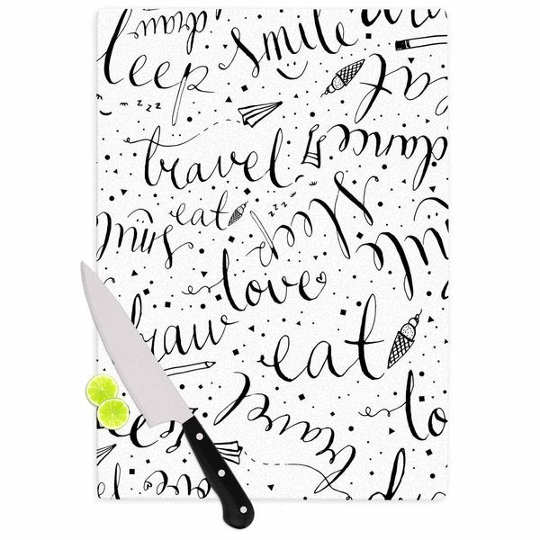 KESS InHouse MaJoBV Life Must-dos / Black White Cutting Board