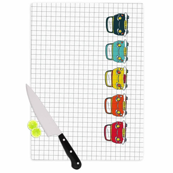 Kess InHouse MaJoBV Boys Rock Multicolor Glass Cars Cutting Board