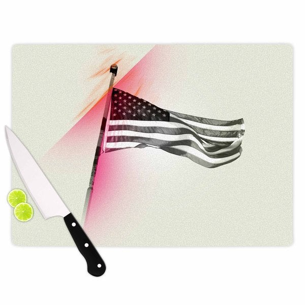 Kess InHouse Just L 'Capture The Flag' Red and Black Glass Cutting Board