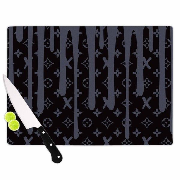 Kess InHouse Just L 'LX Drip Black' Illustration Grey Glass Cutting Board