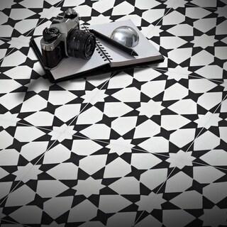 Handmade Medina in White and Black Tile, Pack of 12 (Morocco)