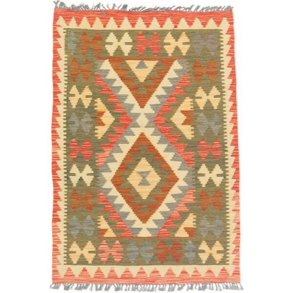eCarpetGallery Anatolian Orange/Yellow/Green Wool Hand-woven Kilim (2'9 x 4'0)
