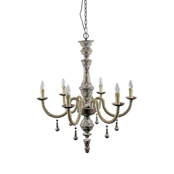 Wood and Iron Antique 6-light Chandelier